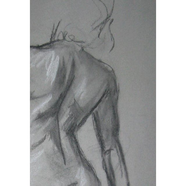 """Quick Sketch IV"" contemporary charcoal figure drawing on 12"" x 18"" grey charcoal paper. This drawing has been ""fixed"" to..."