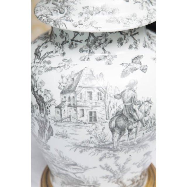 Black and White French Toile Motif Lamp For Sale - Image 4 of 8