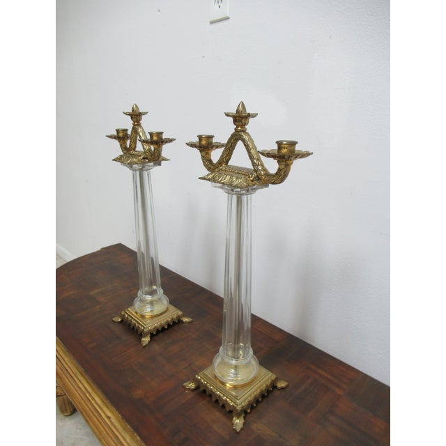 Chapman Manufacturing Company Italian Regency Chapman Brass Glass Candelabras Candle Sticks - a Pair For Sale - Image 4 of 12