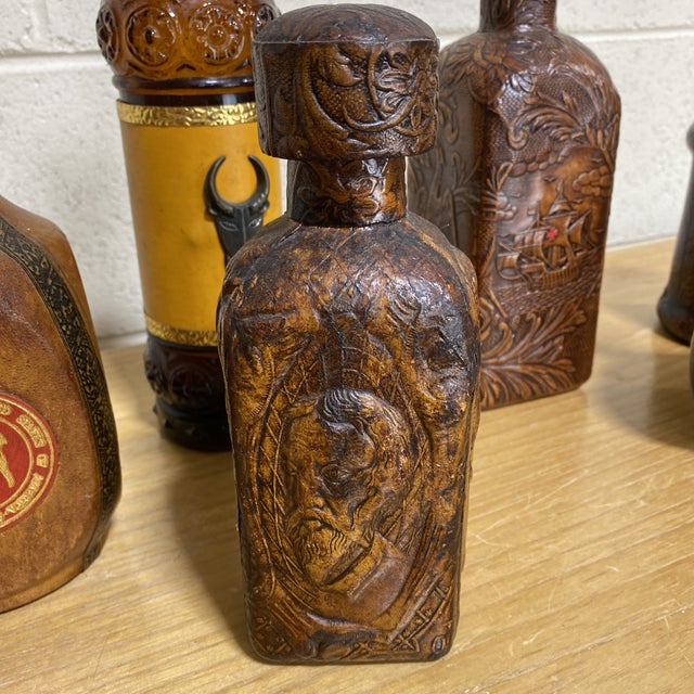 1970s Italian Leather Liquor Bottle Collection - Set of 6 For Sale - Image 5 of 13