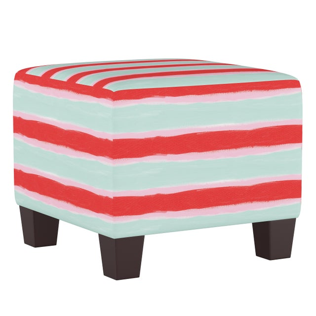 Spritely Home Square Ottoman in Brush Stripe Mint Oga For Sale - Image 4 of 5