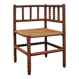 1940s Vintage French Turned Wood Corner Chair For Sale