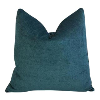 "24"" Custom Tailored Marine Green/Turquoise Velvet Feather & Down Pillow For Sale"