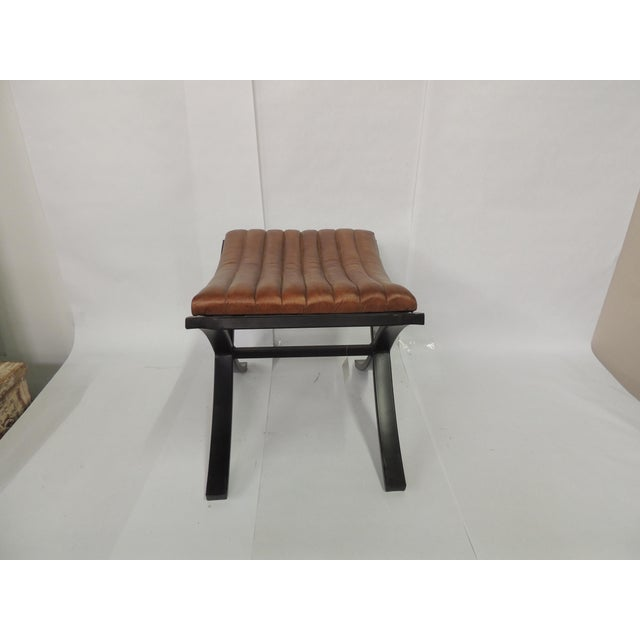 2010s Brown Modern Polished Leather Footstool For Sale - Image 5 of 7