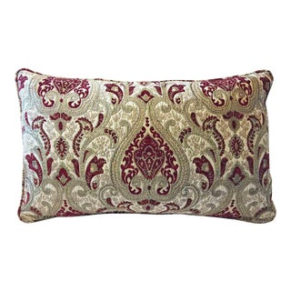 Highland Court Down Feather Chenille Paisley Lumbar Pillow Cover For Sale