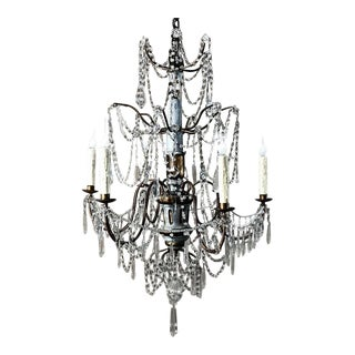 Antique 19th Century Italian Crystal and Silver Leaf Carved Wood Chandelier For Sale