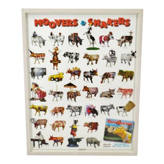 Vintage Framed Movers & Shakers Cow Parade New York 2000 Poster For Sale