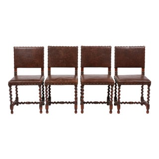 Antique Jacobean Style Barley Twist Chairs - Set of 4