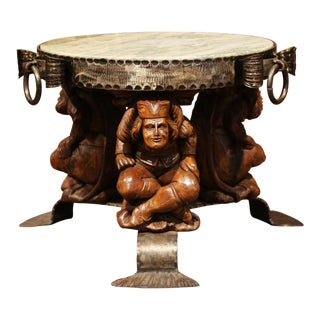 19th Century French Carved Walnut and Iron Round Coffee Table with Marble Top
