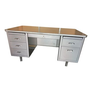 Vintage Steelcase Metal Tanker Desk For Sale