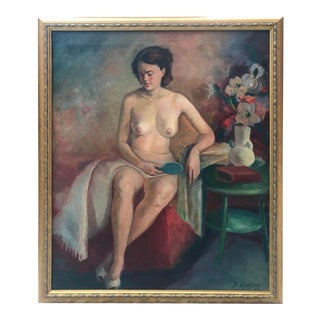 Vintage Mid Century Oil Painting Portrait Beautiful Seated Nude For Sale