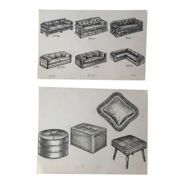 1970s Vintage Furniture Ad Illustrations - A Pair For Sale
