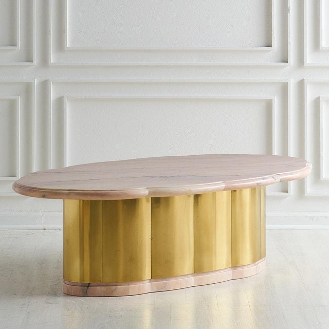 Gold Pink Marble and Brass Coffee Table With Scalloped Base For Sale - Image 8 of 8