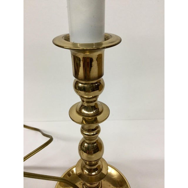 Vintage Baldwin Solid Brass Candlestick Table Lamp For Sale - Image 12 of 13