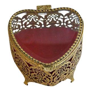 Mid-Century 1950s Heart Shaped Trinket Jewelry Box