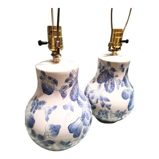 Vintage Small Blue and White Gourd Shaped Fruit Design Table Lamps- a Pair For Sale
