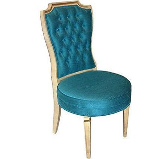 Blue Hollywood Regency White and Gilded Chair