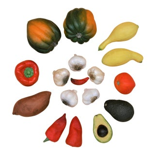 American Southwest Hyper Realistic Ceramic Vegetables - Set of 17 For Sale