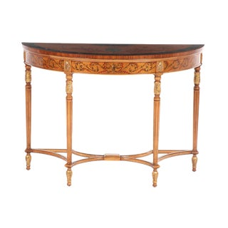 20th Century Traditional Hand-Painted Mahogany Demilune Console Table For Sale