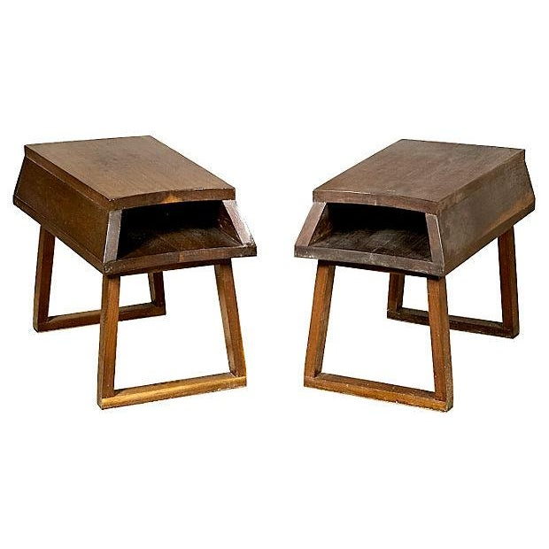 1960s Open Storage End Tables - Pair - Image 1 of 3