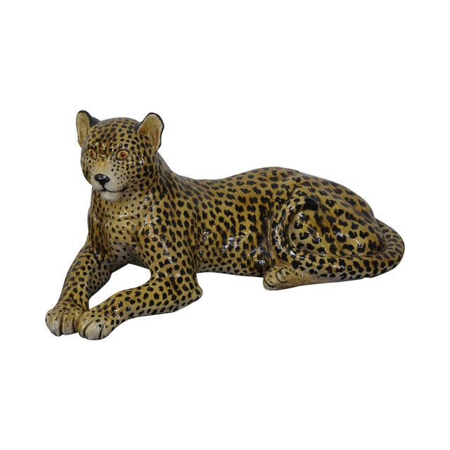 Large Italian Pottery Ceramic Leopard Statue For Sale