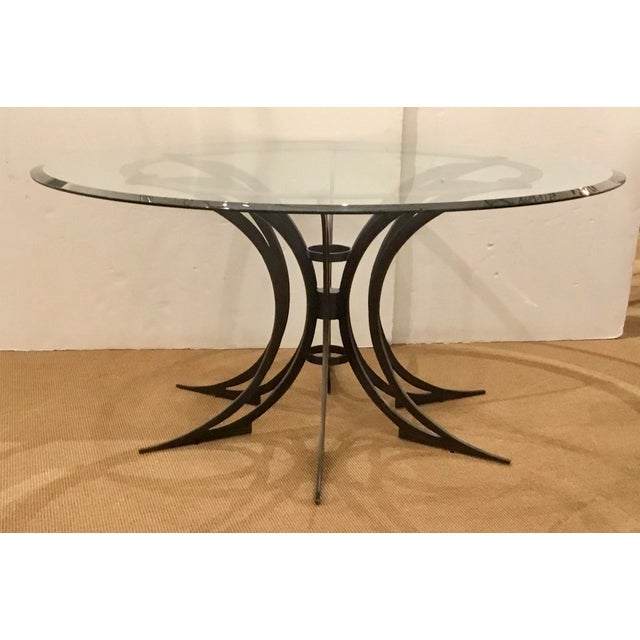 2010s Global Views Modern Iron and Glass Revolution Dining Table For Sale - Image 5 of 5