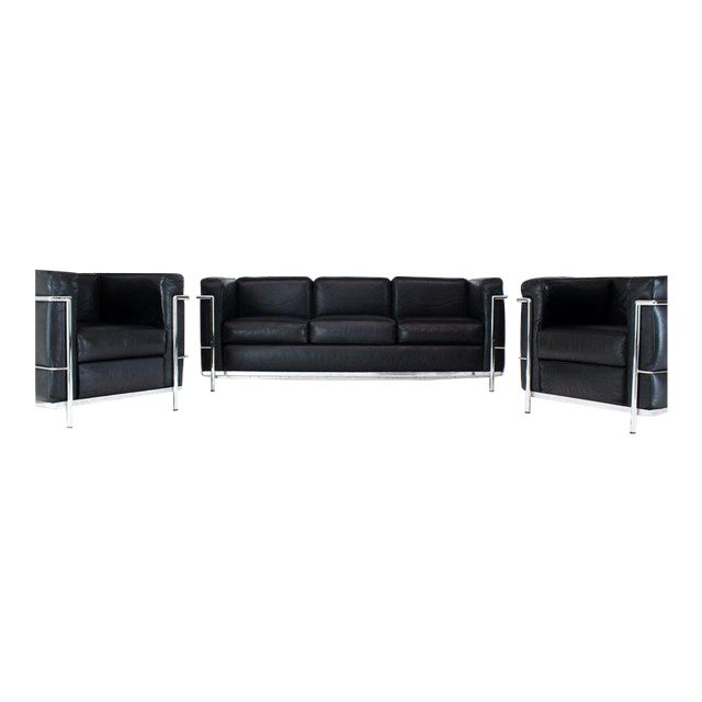 Licensed Le Corbusier Club Chairs and Matching Lc2 Sofa Set- 3 Pieces For Sale
