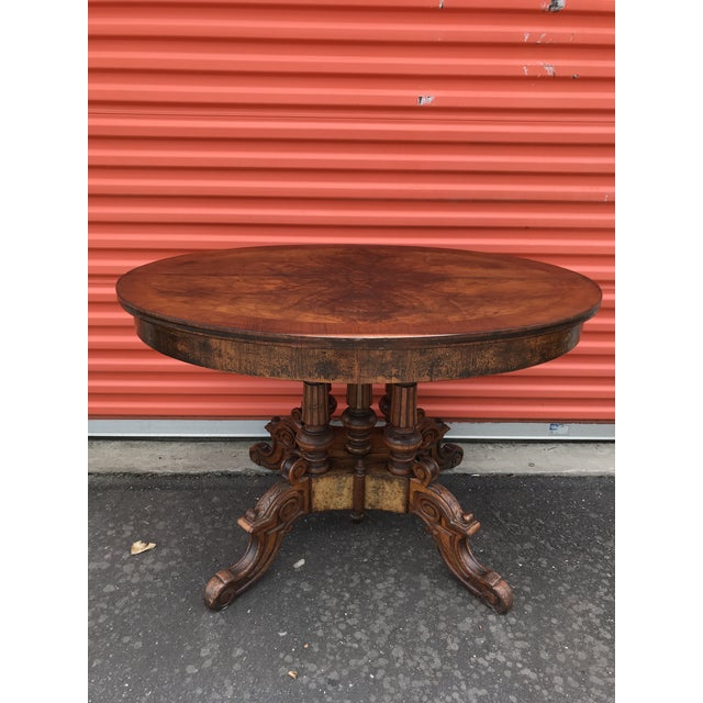 Oval Carved Wood Side Table For Sale - Image 11 of 11