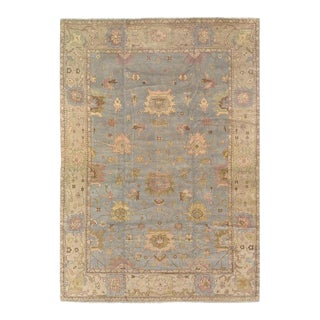 Pasargad Light Blue Hand Knotted Oushak Rug 12'3'' X 17'6 For Sale