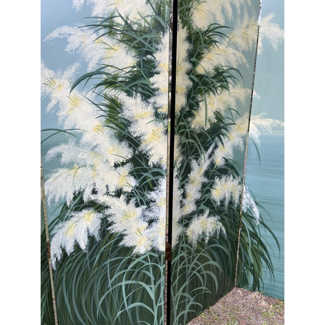 Metal Pair Late 20th C. Hand-Painted Screens - Coastal Landscape For Sale - Image 7 of 13