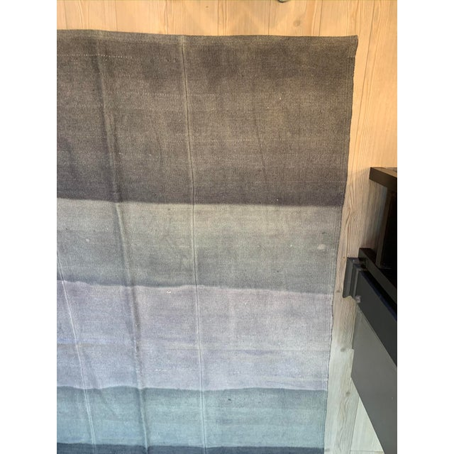 Late 20th Century Vintage Blue Ombre Turkish Hemp Rug-5′6″ × 7′10″ For Sale - Image 4 of 11