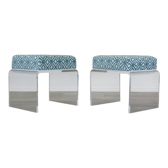 Waterfall Acrylic Benches- a Pair For Sale