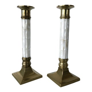 Mid 20th Century Mother of Pearl and Brass Candle Holders - a Pair For Sale