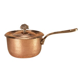 "Amoretti Brothers Handmade 2.8 Qt Copper Sauce Pan ""Flower"" For Sale"