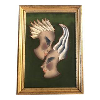 Original Vintage Art Deco Double Portrait Painting W/Pastel For Sale