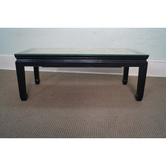 Chinese Relief Coffee Table: Vintage Black & Gold Chinese Coffee Table