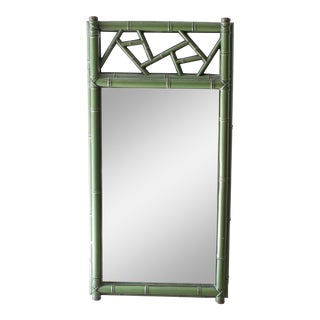 Chinoiserie Green Bamboo Wall Mirror Medicine Cabinet For Sale