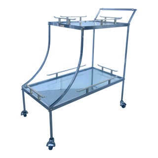 James Mont Style Chrome/Brass Bar Cart For Sale