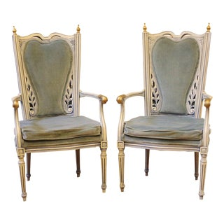 20th Century. Neoclassical Blue Velvet Painted Arm Chairs - a Pair For Sale