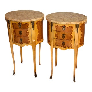 1930s French Louis XV Mahogany Hand Painted Marble Top Nightstands - a Pair For Sale