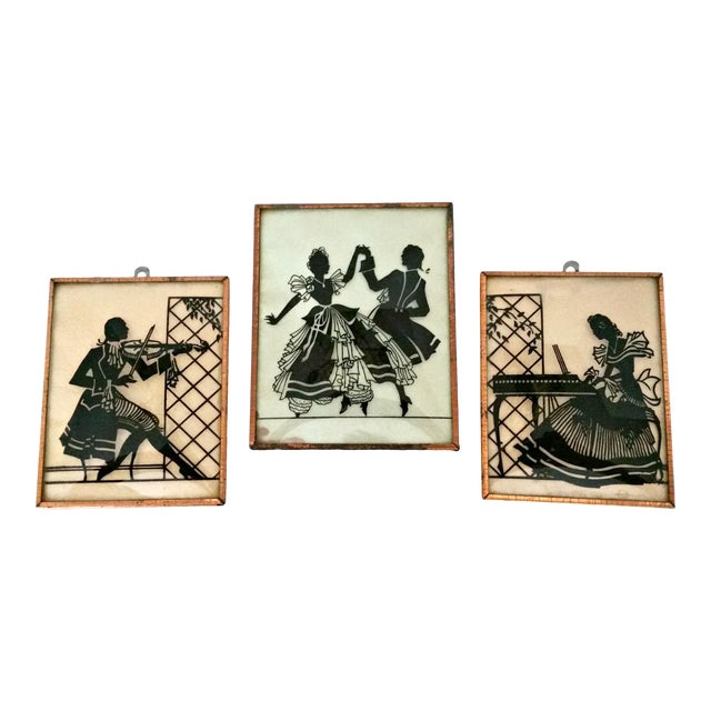 Vintage Musical Trio Reverse Painted Convex Glass Silhouettes - Set of 3 For Sale