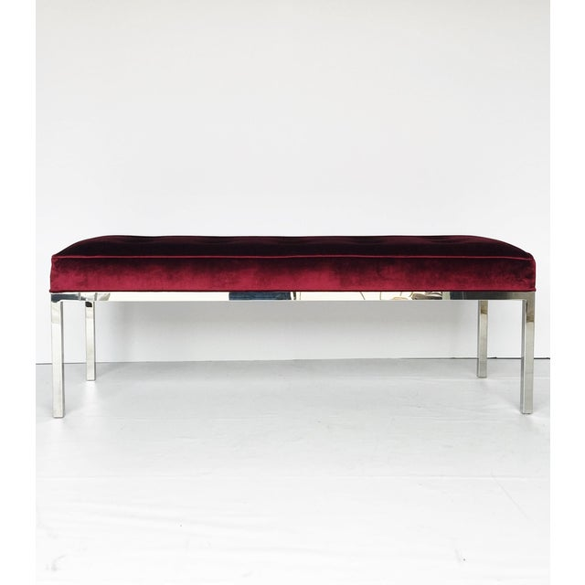 Metal Florence Knoll Tufted Bench For Sale - Image 7 of 7