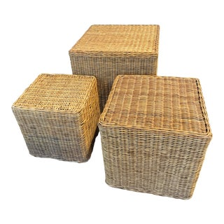Vintage Gumps Rattan Wicker Nested Tables - Set of 3 For Sale