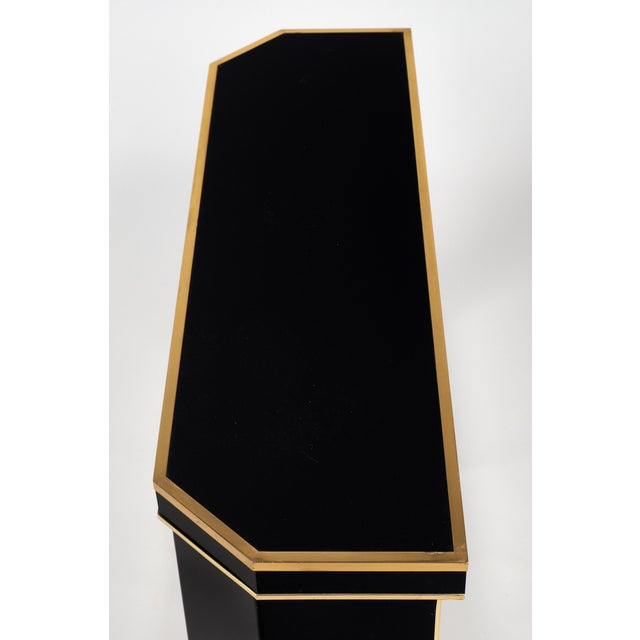 1960s French Black Lucite with Brass Console Table - Image 5 of 9
