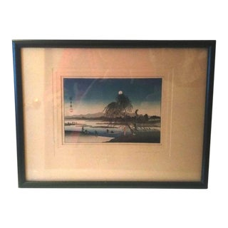 Hiroshige Antique Fishermen, Willow and Full Moon Woodblock Print For Sale