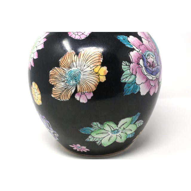 1970s Black Hand-Painted Melon Jar With Flowers For Sale - Image 5 of 11