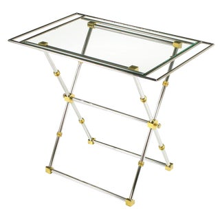 Chrome & Brass X-Frame Tray Table For Sale