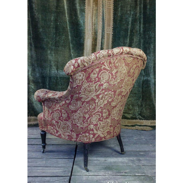 Pair of Tufted and Scrolled Back Armchairs For Sale - Image 9 of 11