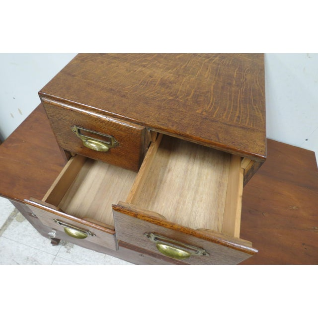 Mid 20th Century Wood English Tiger Oak 4 Drawer Tabletop Card File For Sale - Image 5 of 10