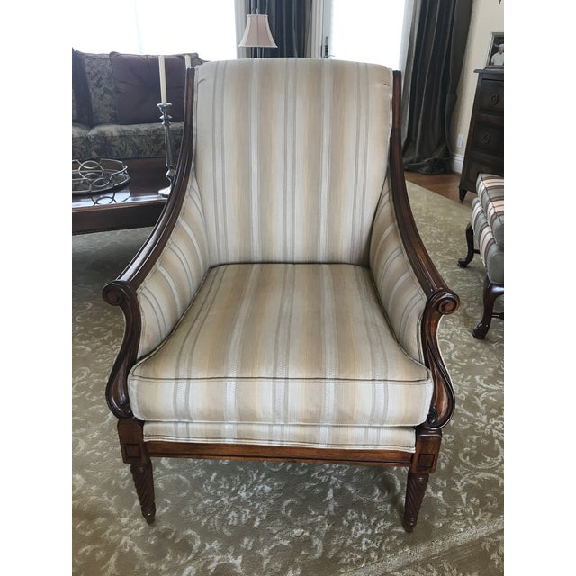 This beautifully designed Drexel Heritage/Surburan House bergere chair has subtle toned neutral stripping in cream, taupe...